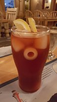 fresh brewed ice tea - have not seen ice cubes like that in a long time
