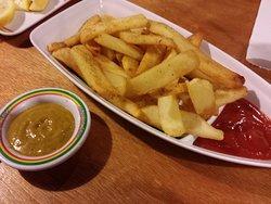Steak fries, curry mayo