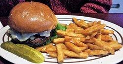 Burger w/ mushroom, onion, & Swiss, w/ seasoned fries.