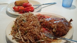Egg Foo Yung with Sweet and Sour Shrimp Yummy Yummy. Good flavor