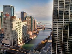 Great view of downtown and lake Michigan