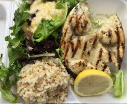 white swordfish over brown rice (daily special)