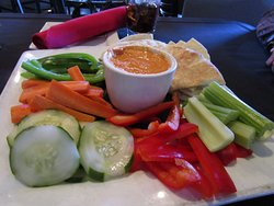 Roasted Red Pepper Hummus with Pita and Fresh Vegetables