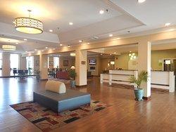 Clean, spacious, open-plan lobby