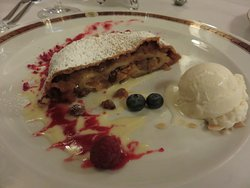 Apple Strudel w/ vanilla ice cream