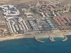 On left Sol Dunas (Far end) and Melia Dunas (Beach end) from the air