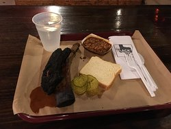 Beef rib with pickles and pinto beans