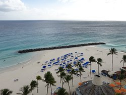 Looking down from hotel room onto beach