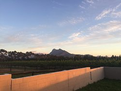 Sunset view over the mountains from the veranda.