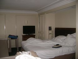 Upstairs bed, TV, chest, closet.