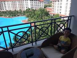 View of the pool from our pool-view room. On the left side is the beach, not captured in the pho