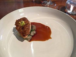 Poached quail with quail jus, perfectly cooked quail with rich jus