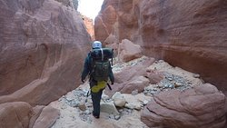 Entering the canyon with my gear