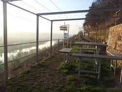 Picknickplattform mit Sonnenliegen im Weinberg