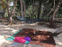 Bean bags and mats are provided as well as towels