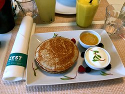 The delicious buckwheat pancakes at Cafe Zest