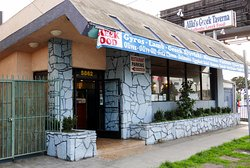 Aliki's Greek Taverna, around the corner from Airport Blvd, about one block from the Renaissance