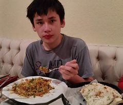 Bradley with mixed rice
