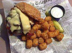 Wellington's - Mushroom-Swiss-Bacon Burger and Tots