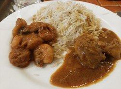 Biryani with prawn and Chicken curry