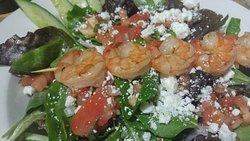 Shrimp topped salad