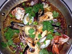 Paella, delicious fresh fish