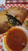 Spinach filled Calzone