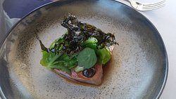 Arkady lamb, ice plant, seaweed, black garlic, mountain spinach, Barletta onions and nasturtium,