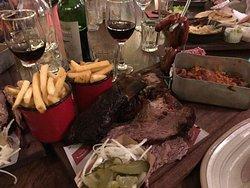 Huge meat platter of yummy food