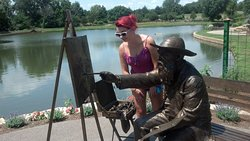 my niece was visiting and was looking at the painting Monet was painting, in his garden area.