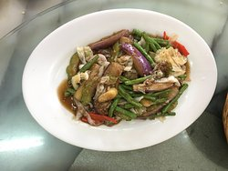 Brinjal & long beans with dried shrimps