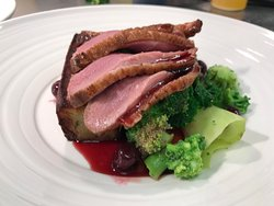 2017 duck breast and cherry jus
