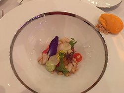 grilled scallops and vegetables with gaspacho ice cream
