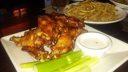 Chicken wings with rootbeer sauce.