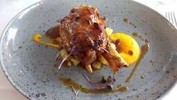 """pickled hamhock glazed with honey and soya, accompanied by carrot """"Parmentier"""". Utterly deliciou"""