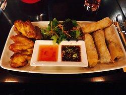 Crispy duck popiah & thai style chicken wings. Delicious!