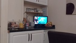 Breakfast bar with cereals, juice, yoghurts etc