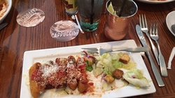 Lasagna Fritta with a Moscow Mule drink. Salad not invluded with meal.