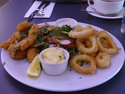 Fritto Misto Seafood Platter, plenty for 2, with 4 types of fish included