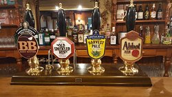We always have four REAL ALES. Including one seasonal and one local ale!