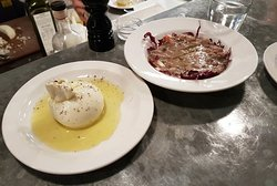 Wiltshire burrata with Puglian olive oil and baked Borlotti bean with pancetta, treviso & olive