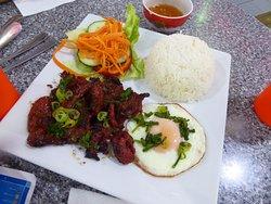 Lemon Grass Pork Chop with Egg and Rice