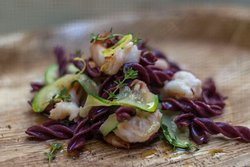Beetroot Pasta with Prawns