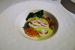 Lobster Steamed in Spinach (Yellow Foot Mushrooms, Roasted Lobster Jus)