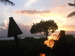 sun setting over Maui