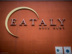 The logo outside the original Eataly in Turino. An amazing grocery store and restaurant facility