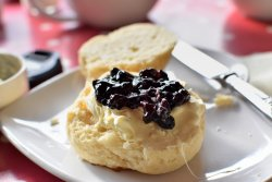 Cream tea with whortleberry jam. Do have the Whortleberry jam; it's a little extra but well wort