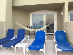 Beach front suite patio area