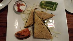 Spinach and Cheese Pie (option for vegetarians) - Harissa+yogurt sauce, 2 grilled veggies