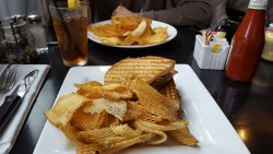 Great homemade chips; panini styled Cuban Sandwich